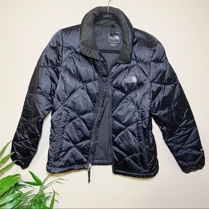 The North Face Black Quilted 550 Goose Feather Down Filled Puffer Coat S